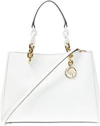 be9a527804eb Michael Kors Cynthia Vanilla Saffiano Leather Satchel in White - Lyst