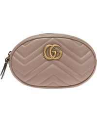 68fa6f9157b Gucci Gg Marmont Belt Bag in Pink - Lyst
