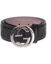 223b674f376eb Lyst - Gucci Ssima Belt With Interlocking G in Red