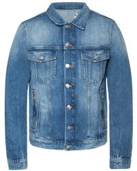05ac5a8e Lyst - Balmain Denim Jacket With Wool Lining in Blue for Men