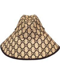 Gucci - Iris Gg Embroidered Woven Raffia Hat - Lyst