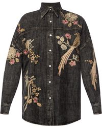 Gucci - Denim Shirt With An Embroidered Pattern - Lyst