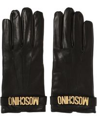 Moschino - Logo Leather Gloves - Lyst