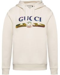 68d24bb88f2 Gucci  ny  Patch Hooded Jacket in Blue - Lyst