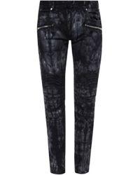 Balmain - Patterned Biker Jeans - Lyst