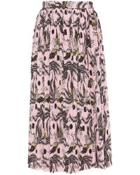 68f6c5e54b KENZO - Patterned Skirt With Pleats - Lyst