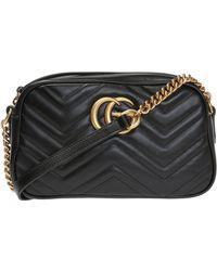 2de6a9aed84e Gucci Mini Marmont Chevron Shoulder Bag in Black - Lyst