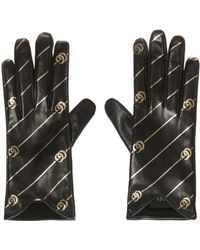 Gucci - Black And Gold Leather GG Gloves - Lyst
