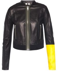 DIESEL - Cropped Jacket With Band Collar - Lyst