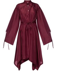 Lanvin Silk Dress With Tie Closures - Red