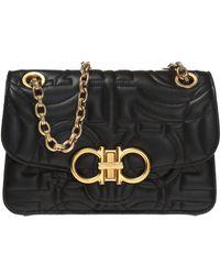 Ferragamo - Quilted Gancio Leather Shoulder Bag - Lyst