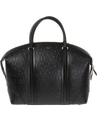 a8d93ad65f Givenchy Logo Jacquard Leather Duffle Bag in Black for Men - Lyst