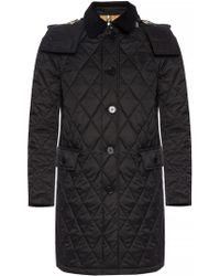 Burberry - Quilted Coat With Detachable Hood - Lyst
