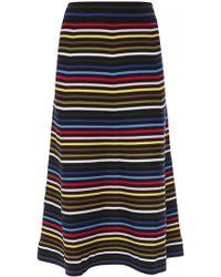 3b051fade0d Sonia Rykiel - Striped Knitted Midi Skirt - Lyst