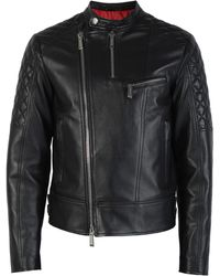 DSquared² - Quilt Sleeved Leather Jacket - Lyst