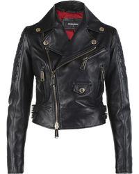 DSquared² - Cropped Biker Jacket - Lyst