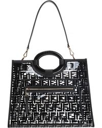 fc137957883d Lyst - Fendi  double Baguette  Quilted Shoulder Bag in Black