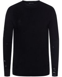 Diesel Black Gold - Ribbed Sweater With Holes - Lyst