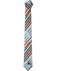 Vivienne Westwood - Tartan Print Tie Light Blue/white - Lyst