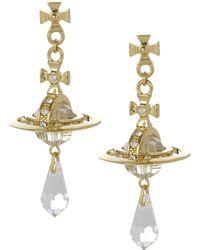 Vivienne Westwood   Crystal Orb Earrings Gold Plated   Lyst