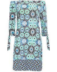 Wallis - Turquoise Tile Print Bardot Dress - Lyst