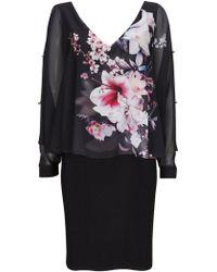 Wallis - Black Pretty Lily Print Overlayer Dress - Lyst