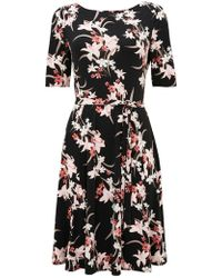 Wallis - Black Lily Printed Fit And Flare Dress - Lyst
