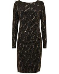 Wallis - Gold Wave Sparkle Dress - Lyst