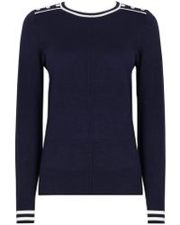 Wallis - Navy And Ivory Tipped Jumper - Lyst