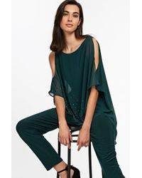 85356f3dc91 Wallis - Green Embellished Asymmetric Overlay Jumpsuit - Lyst