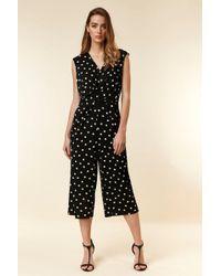 496e9b5150c4 Wallis - Black Polka Dot Print Wrap Jumpsuit - Lyst