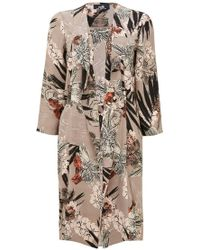 Wallis - Taupe Palm Print Duster Jacket - Lyst