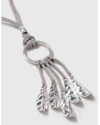 Wallis - Silver Fabric Leaf Drop Necklace - Lyst