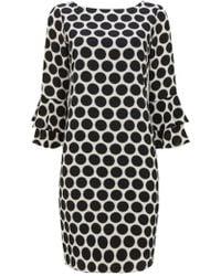 Wallis - Ivory Polka Dot Flute Sleeve Shift Dress - Lyst