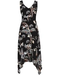 Wallis - Petite Black Tropical Print Fit And Flare Dress - Lyst