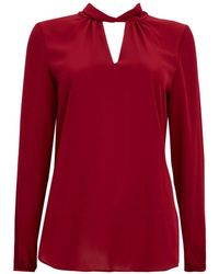 Wallis - Berry Twist Neck Blouse - Lyst