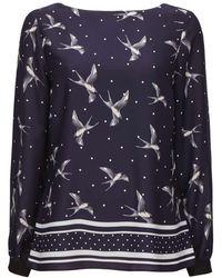 Wallis | Navy Spotted Bird Print Blouse | Lyst