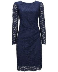 Wallis - Navy Side Ruched Lace Shift Dress - Lyst