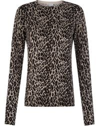 Warehouse Leopard Print Crew Jumper - Gray