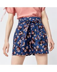 Warehouse - Mae Floral Cotton Shorts - Lyst