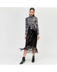 Warehouse - Sequin Fringe Midi Skirt - Lyst