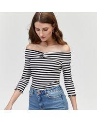 Warehouse - Stripe Long Sleeve Rib Bardot - Lyst