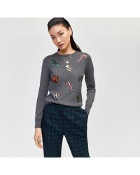 Warehouse - Embellished Christmas Jumper In Grey - Lyst