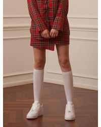 TARGETTO - Asymmetry Skirt Red Tartan Check - Lyst