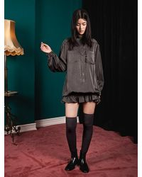 W Concept - Balloon Sleeves Elastic Shirring Dress - Lyst