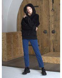 W Concept - Oversized Black Fleece Hoodie - Lyst