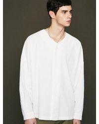 VOIEBIT - [unisex] V412 V-neck Over Shirt White - Lyst