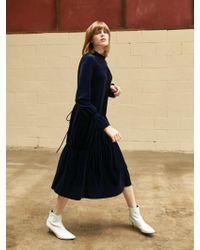COLLABOTORY - Velvet Peplum Long Dress Navy - Lyst