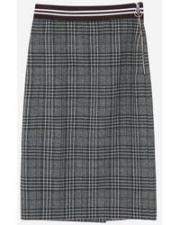 a.t.corner - Dark Gray Cotton Blend Check Skirt Amsk7d133g3 - Lyst