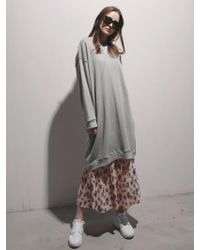 1159 STUDIOS - Mh1 Satin Point Long Sweatshirt Gy - Lyst